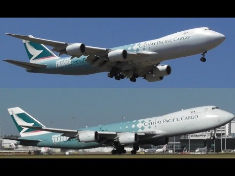 Cathay Pacific Cargo 'Hong Kong Traders' 747-867F Landing and Takeoff at Melbourne Airport
