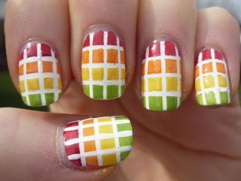 Tropical Square Gradient Nail Art Tutorial