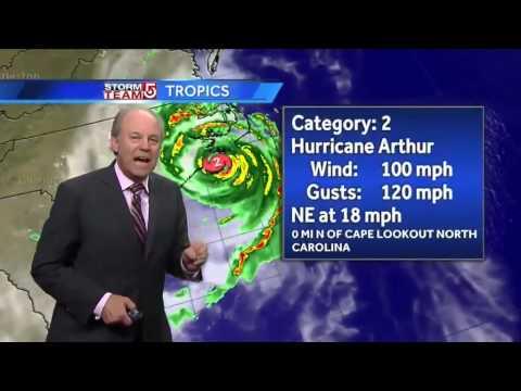 Harvey's Thursday night Hurricane Arthur forecast