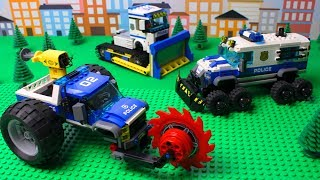 Lego Cars and Trucks Police Bulldozer, Police Tractor Video for kids with toys