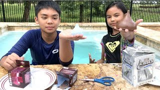 Lil Sis VS Big Bro REAL Foods VS Food Bath Bombs Challenge 2 + Surprise Toy | Toys Academy