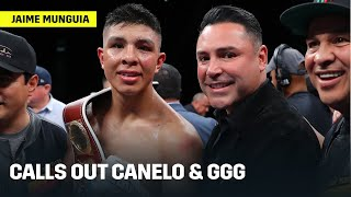 Jaime Munguia Calls Out Canelo, GGG, Charlo's Following Victory