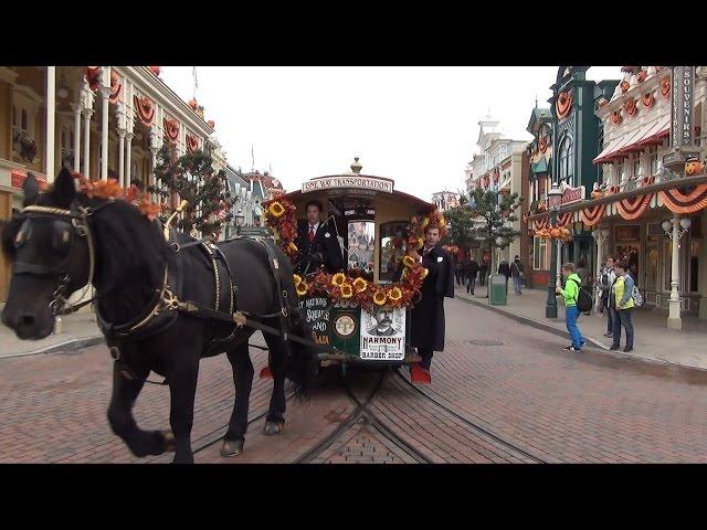 Horse Drawn Streetcar at Disneyland Paris Full POV Ride Main Street U.S.A. to Sleeping Beauty Castle
