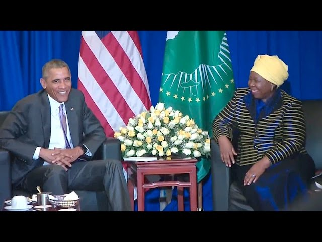 The President Holds a Bilateral Meeting with the African Union Headquarters Chairperson