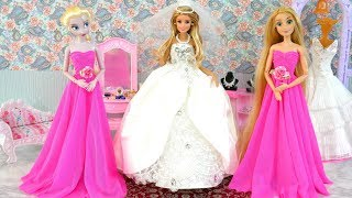 Barbie Wedding Day Morning Barbie Wedding Dress باربي فستان الزفاف Vestido de casamento para Barbie