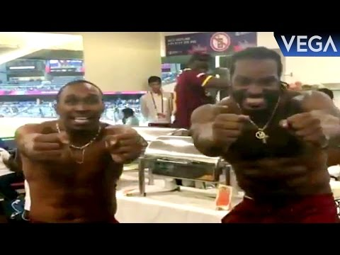 Chris Gayle & Dwayne Bravo Dance On Dj Bravo Champion Song