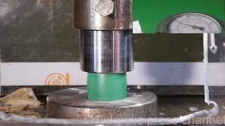 Crushing different plastics with hydraulic press