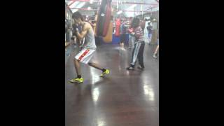 champ training at gym