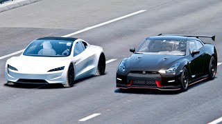 Tesla Roadster vs Nissan GT-R Nismo - Drag Race