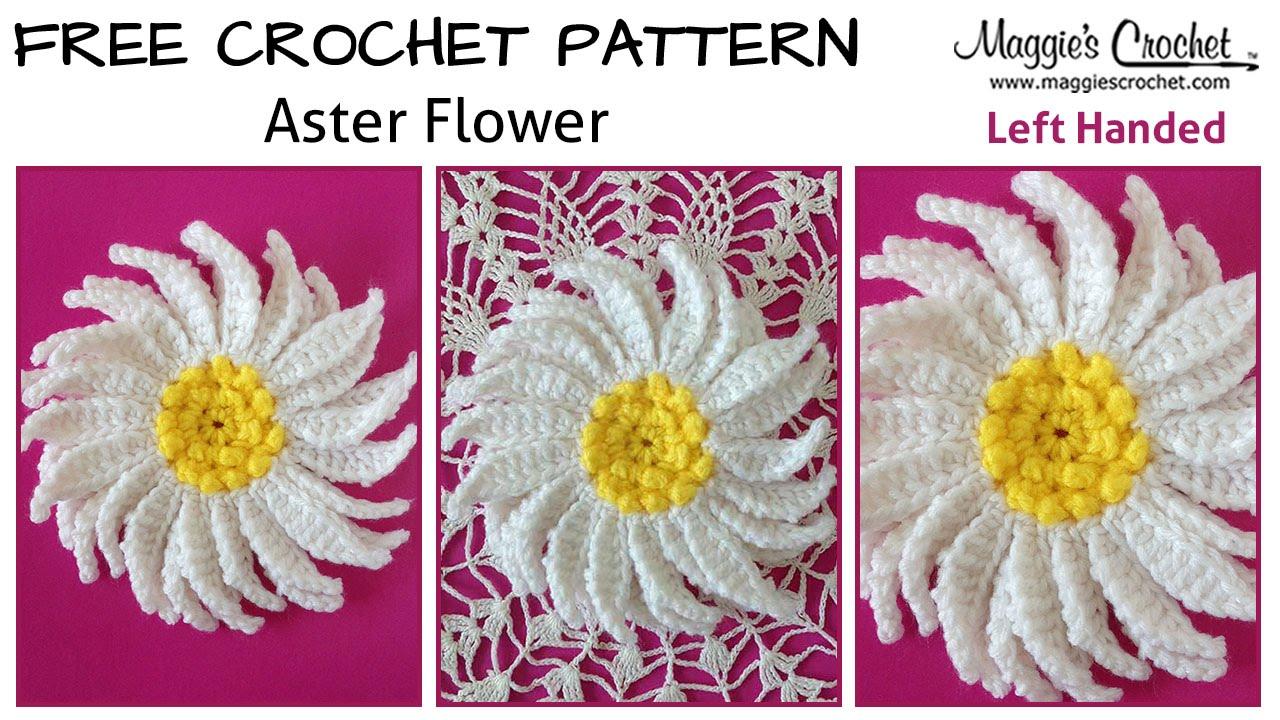 Crochet Patterns For Left Handers : Aster Flower Free Crochet Pattern - Left Handed - YouTube