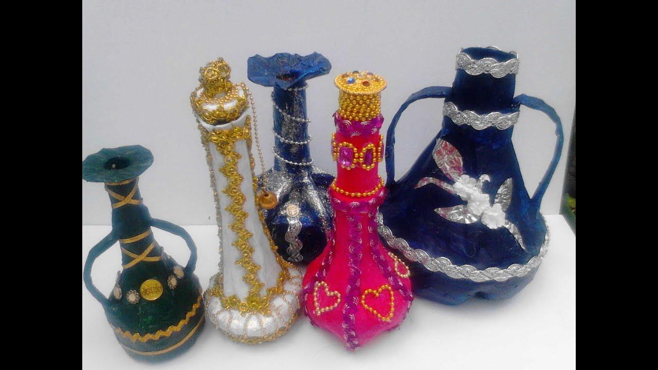 Jarrones floreros hechos con pet youtube for Como pintar jarrones de ceramica