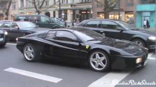 Black Ferrari 512 Testarossa - Start up and accelerating