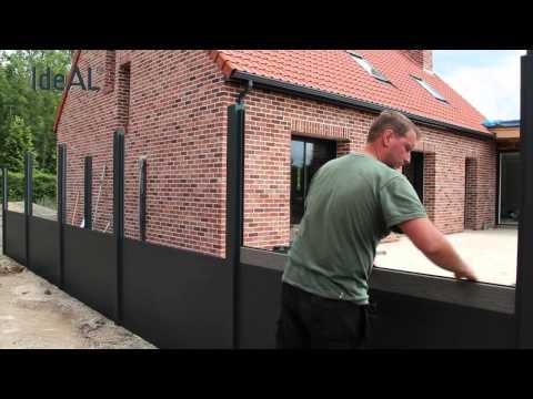 Montage IdeAL aluminium en wpc tuinafscheiding