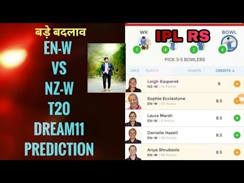 (100% WINNING TEAM) EN-W vs NZ-W T20I Dream11 Match England vs New Zealand women's Prediction