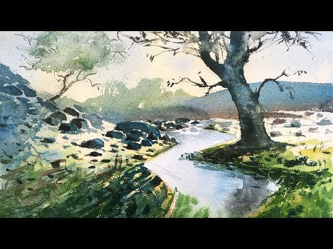 How to paint watercolor painting of a beautiful landscape step by step   watercolor for beginners.