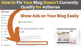 Your Blog Doesn't Currently Qualify For AdSense | Get Adsense Approval for Website Instantly |