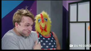 Smosh's Try not to laugh Steve Zaragoza in a chicken suit. For 20 minutes