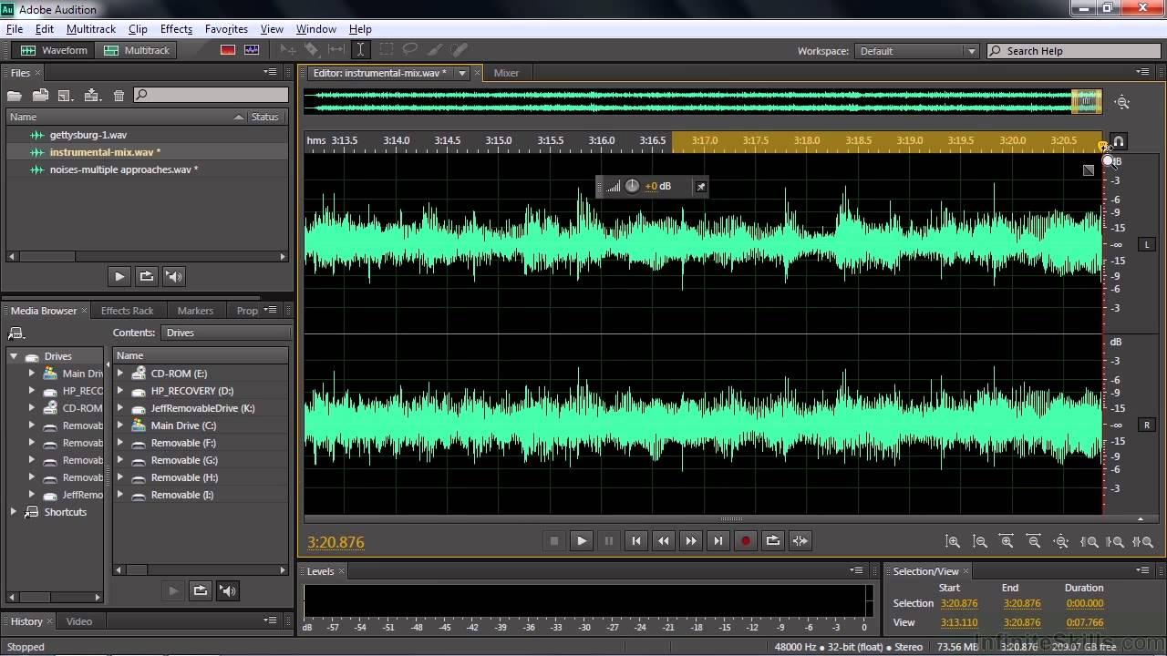Adobe audition 3 0 как удалить голос из песни сделать