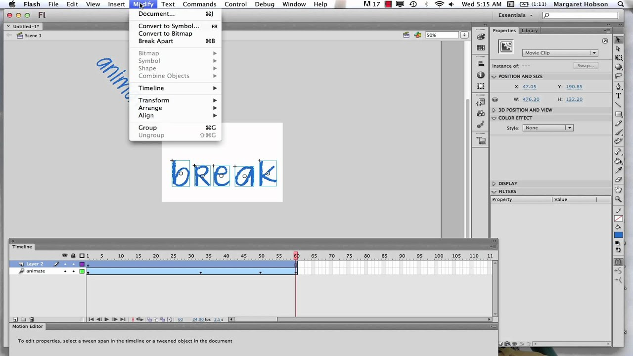 Text Anime Picture Animating Text in Flash Cs6