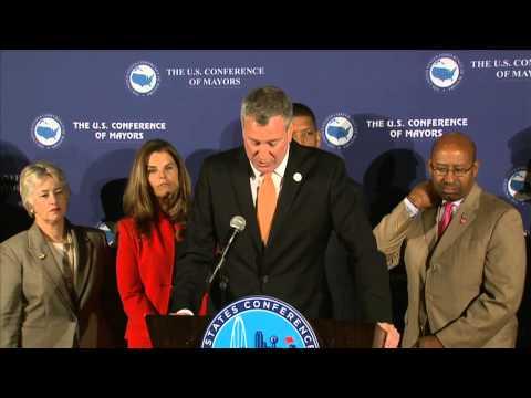 Mayor Bill de Blasio Speak at  USCM Press Conference
