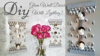Diy Glam Wall Decor with Minimal Lighting!
