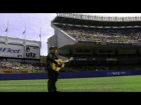 "Paul Simon sings ""Mrs. Robinson"" on DiMaggio Day in 1999"