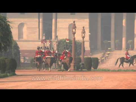 Horse guards parade at the Changing of Guard in Rashtrapati Bhavan