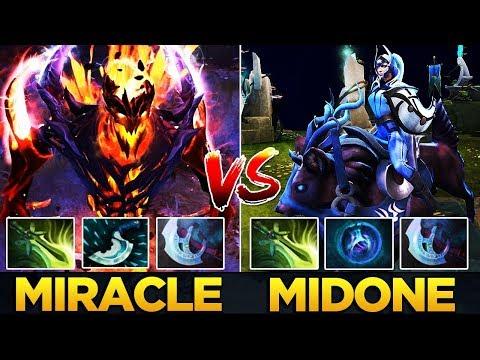 9k Miracle- Shadow Fiend vs 10k MidOne Luna - Dota 2 Battle