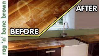 How To Remove Stains, Re-finish & Oil Wooden Kitchen Counter Worktops