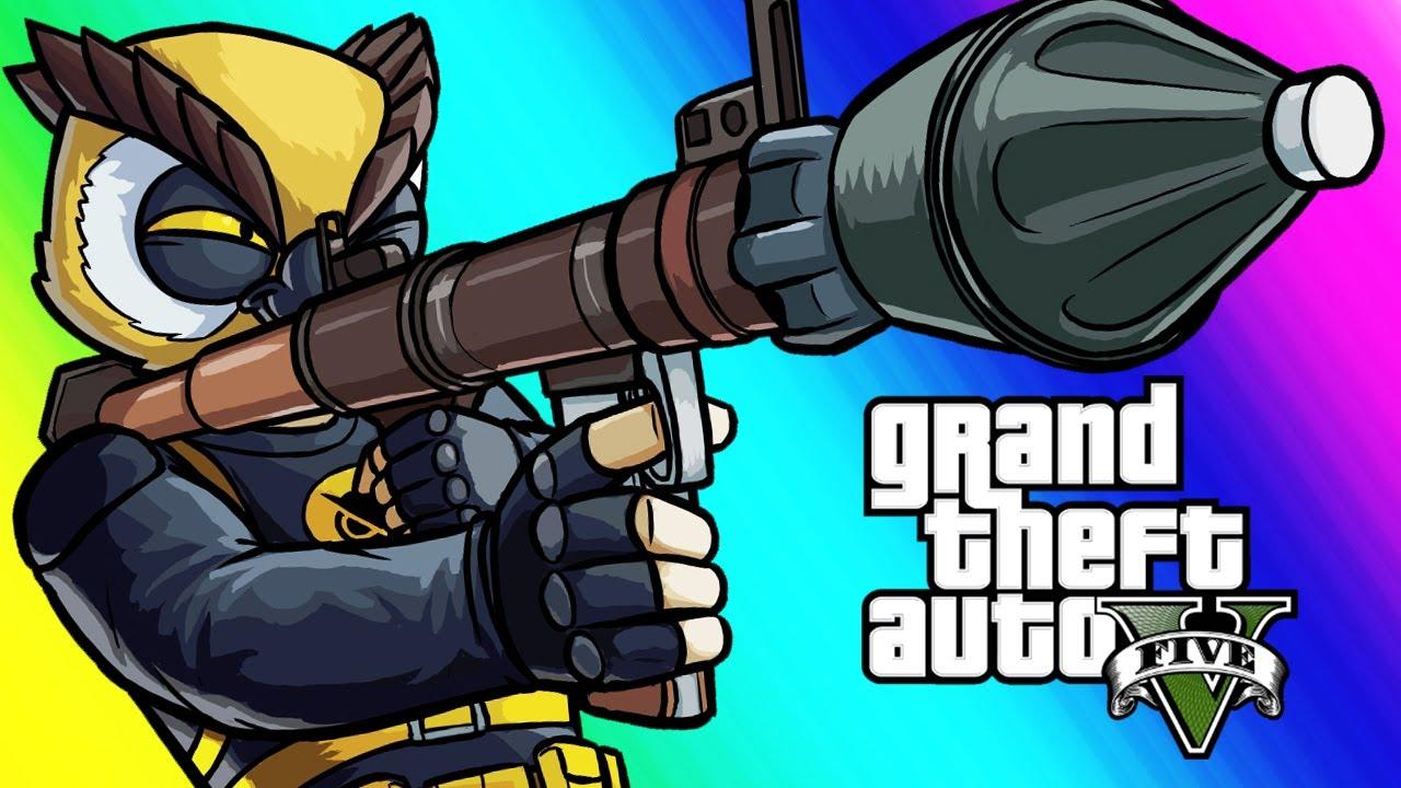 GTA5 Online Funny Moments - RPG VS Flying Cars!