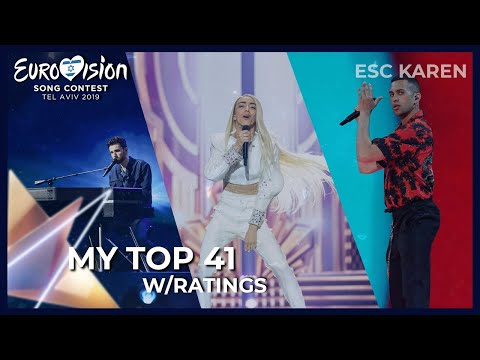 EUROVISION 2019 | MY TOP 41 W/RATINGS | My Updated ESC Tops