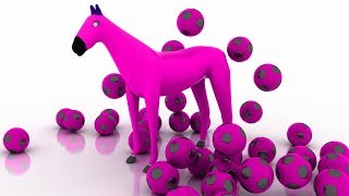 3D Horse Colors Songs For Preschool Kids Toddlers Children | Learn Colors With Horse Soccer Ball