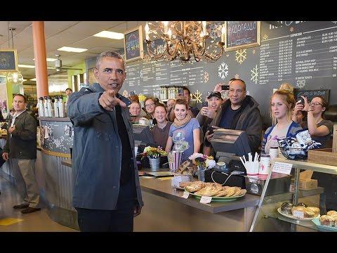 US President Barack Obama buys all the cinnamon buns at Alaska cafe