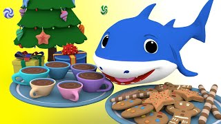 Shark Cooking Cookies for the Holiday | We Wish you a Merry Christmas with the Shark Family Songs