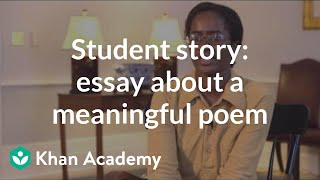 Student story: Admissions essay about a meaningful poem