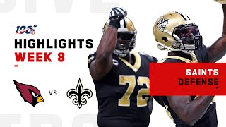 Saints Defense Nets 3 Sacks vs. Cardinals | NFL 2019 Highlights