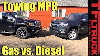 2017 Chevy Colorado V6 vs GMC Canyon Diesel Drag Race, Towing, MPG & 0-60 MPH Review