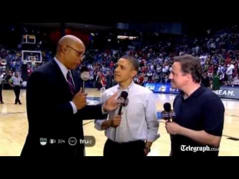 David Cameron and Barack Obama enjoy 'fast and furious' basketball game in Ohio