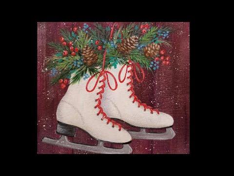 Ice Skates LIVE Acrylic Painting Tutorial