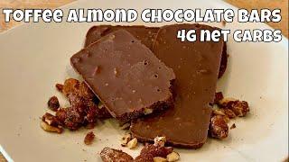 Toffee Almond Chocolate Bars / Fat Bombs - 4g net carbs each