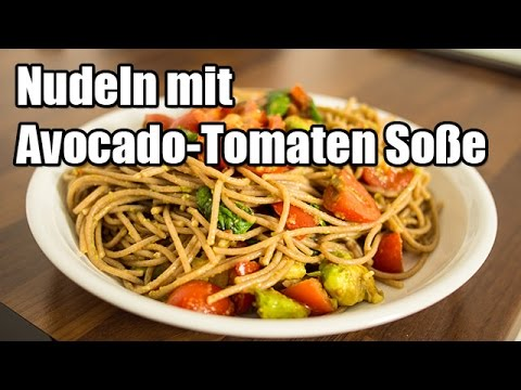 vegetarisch kochen nudeln mit avocado tomaten so e youtube. Black Bedroom Furniture Sets. Home Design Ideas