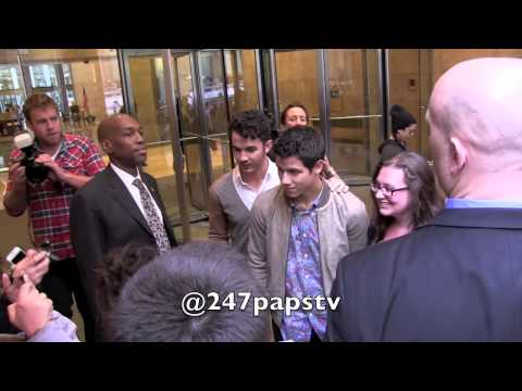 Jonas Brothers All Over New York City Promoting New Single Pom Pom video