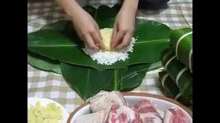 Hướng dẫn cách gói bánh chưng tết Giáp Ngọ 2014
