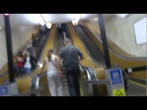 Ride on the subway in Minsk, Belarus Минске, Беларусь