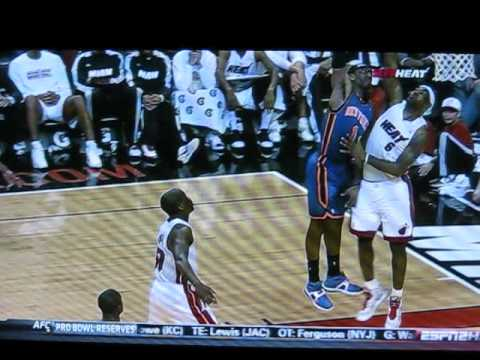 Miami Heat Lebron James gets dunked on and by Knicks Amare Stoudemire
