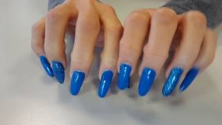 ASMR - Tapping with my very long nails.. blue electric polish
