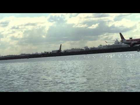 Qantas A380 friendly drag race with a tinny on Botany Bay