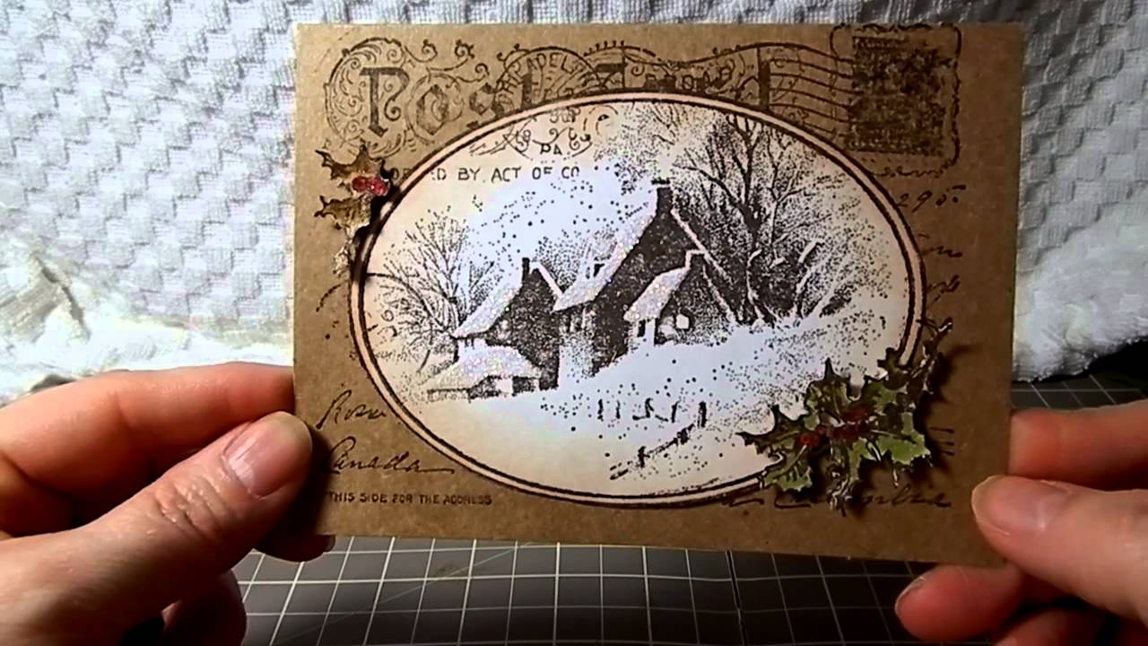 Vintage Christmas Card Stampendous Postcard Stamp YouTube