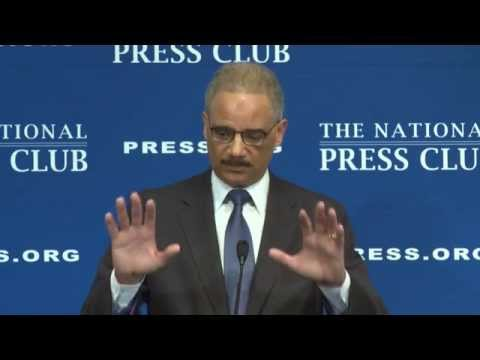 Attorney General Eric Holder speaks at the National Press Club - Feb. 17, 2015