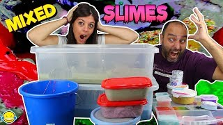MIXING ALL OUR SLIMES!! GIANT SMOOTHIE SLIME!! mezclamos todos nuestros slimes. Slime gigante!!